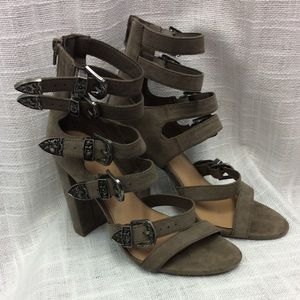 Mossimo Faux Suede multi buckled heels Size 7 1/2